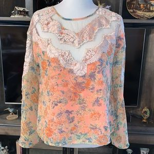 SugarLips Florence Lace Bell Sleeve Blouse
